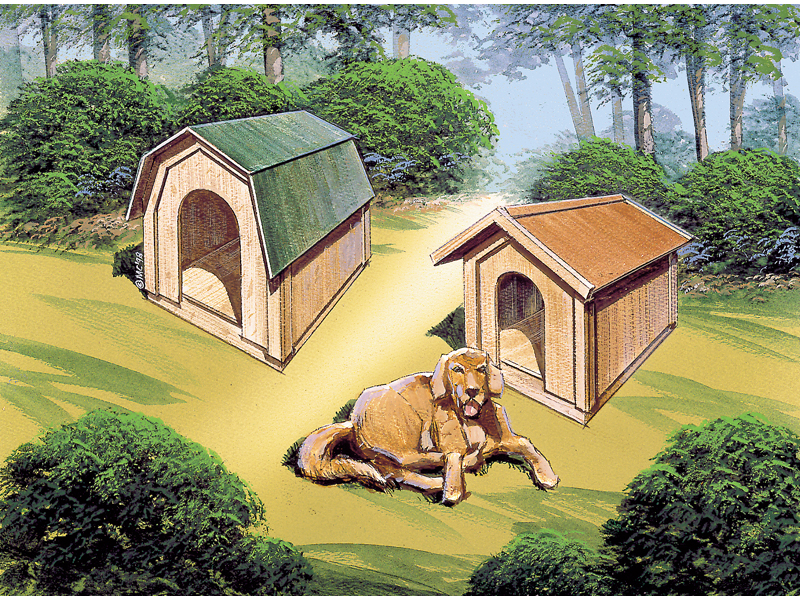 Building Plans Front of Home Doghouse Woodworking Plans 002D-0001 | House Plans and More
