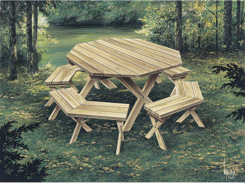 Building Plans Front of Home Picnic Tables Woodworking 002D-0003 | House Plans and More