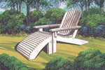 An wood adirondack style chair painted white