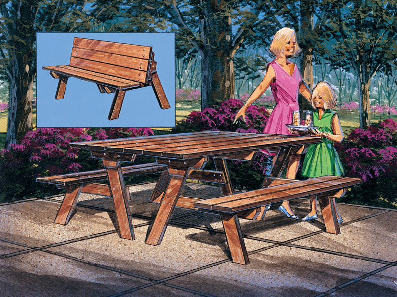 Wood picnic table that can convert into a bench