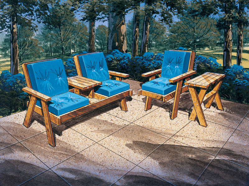 Building Plans Front of Home Patio Furniture - 3 Piece Set