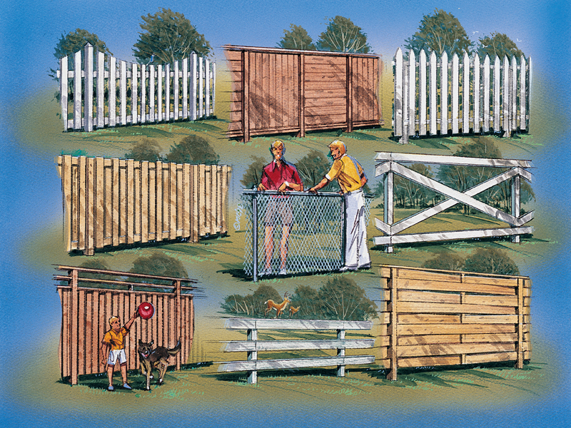 Nine styles of fences and gates including full and partial privacy styles