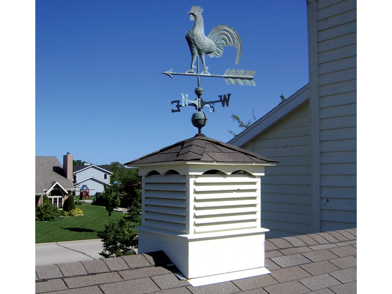 Traditional Plan Front of Home Two Cupolas