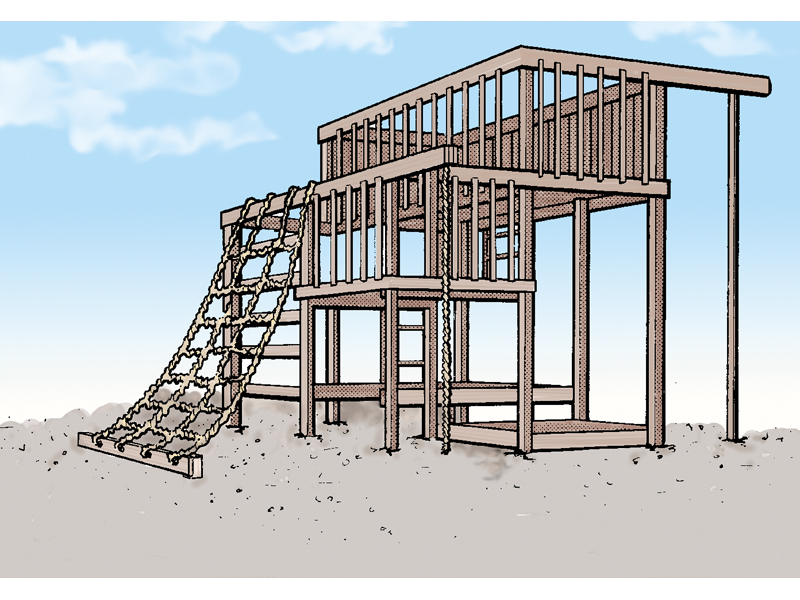 Building Plans Front of Home Multi-Level Jungle Gym