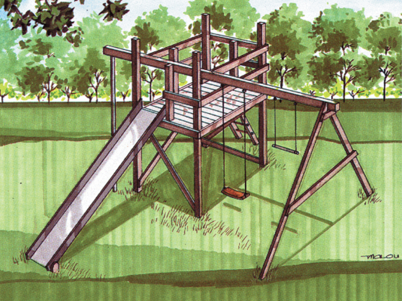 exceptional wood jungle gym plans #9: Wood jungle gym swing set with long slide and swing