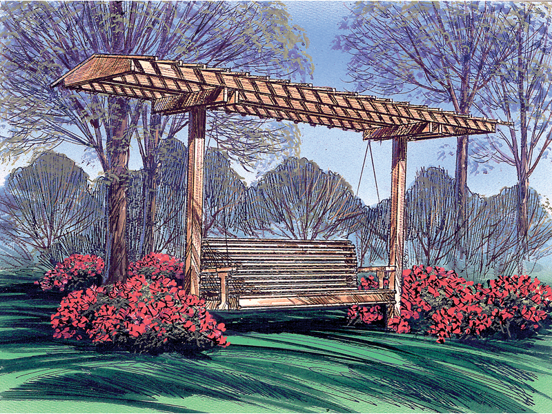 Country French Home Plan Front of Home Garden Swing with Canopy
