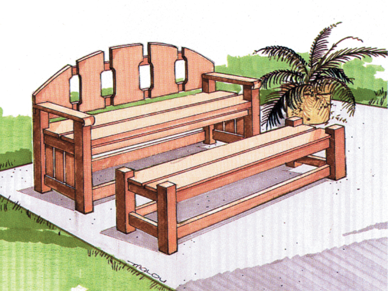 Building Plans Front of Home Leisure Bench with Table
