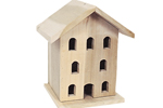 Wood Victorian birdhouse with eight openings across the front