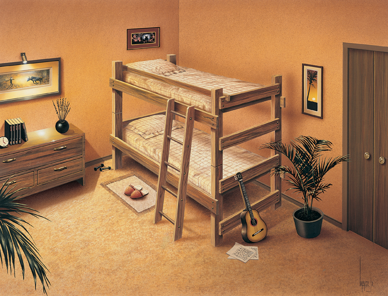 Ranch Plan Front of Home Bunk Beds Furniture 002D-1501 | House Plans and More