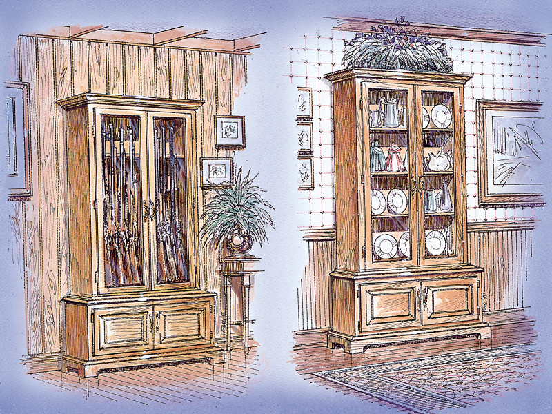 Luxury Plan Front of Home Gun Curio Cabinet 002D-1502 | House Plans and More