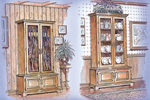 Gun/curio cabinet is made of wood and has large windwoed front doors for displaying collectibles