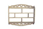 Curio shelf has diamond pattern on the top and bottom for added style