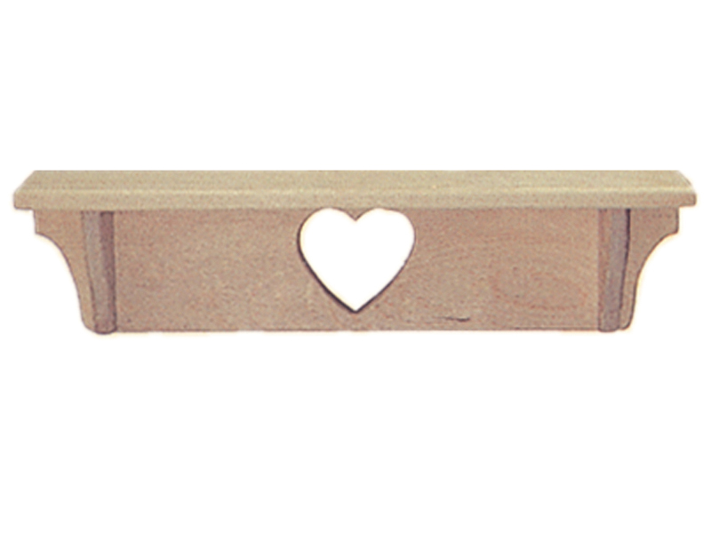 "Bungalow Plan Front of Home 24"" Heart Shelf"