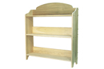 This three shelf bookcase holds many books and can be painted any color to match a children's bedroom or an office