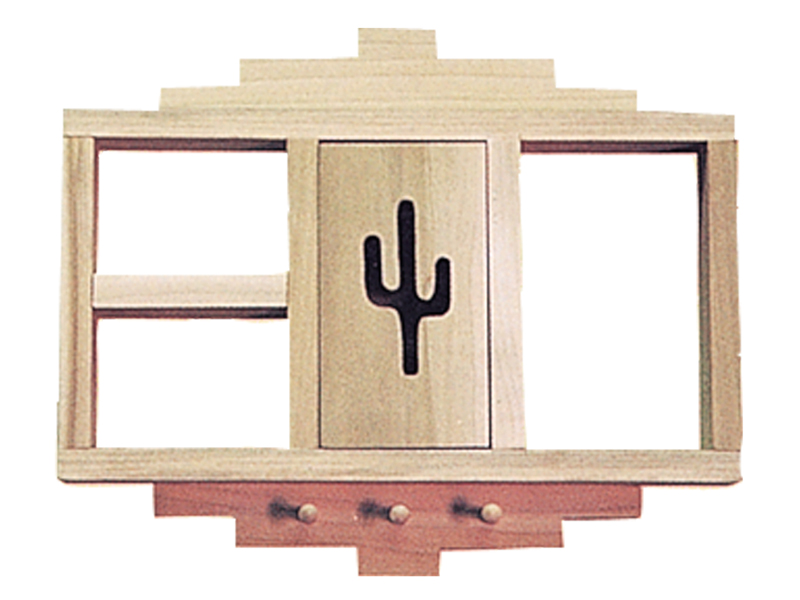 Building Plans Front of Home Curio Shelf with Cactus & Pegs