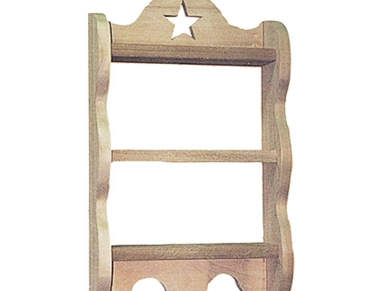 The shelf has a star carved into the top and also features pegs across the bottom
