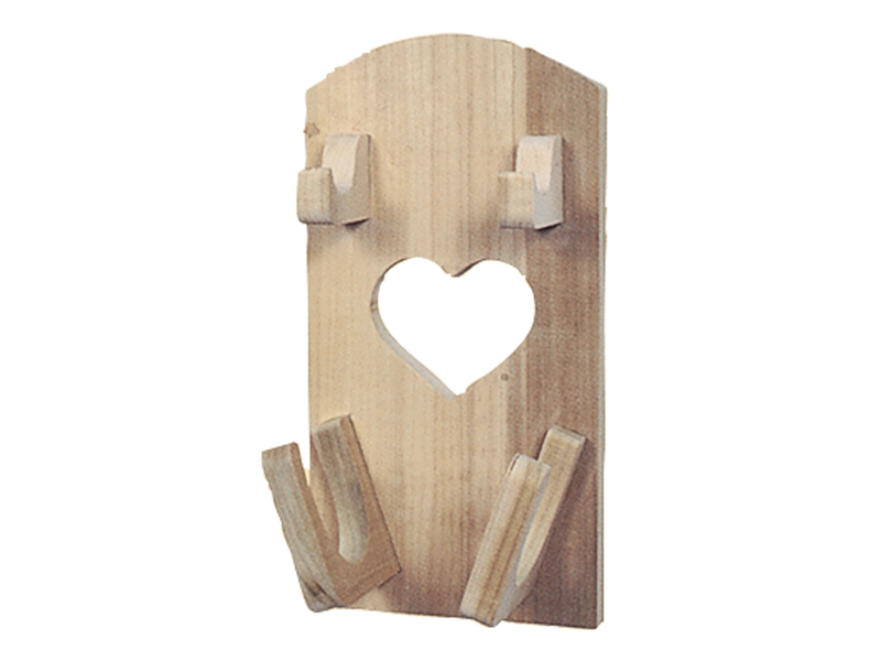 All wood hair dryer/curling iron holder has a charming country style with the heart design