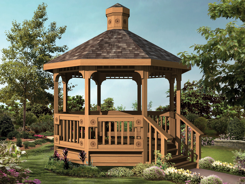Wood Octagon gazebo With Shingle Roof
