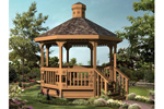 All wood octagon gazebo with rustic style