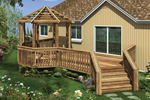 Wood deck with gazebo has shaded and unshaded areas for relaxation