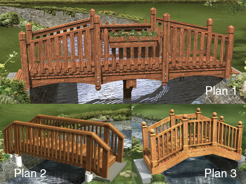 Three styles of bridges provide several ways to add decoration over a creek or backyard stream