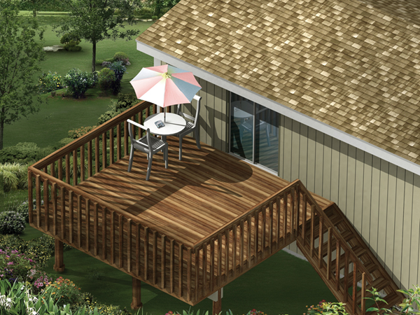 Raised Wood Deck Style Available For Building In Three Sizes