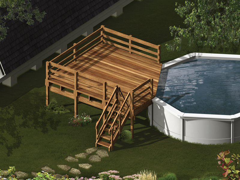 Pool deck attaches to an above ground pool on one side and has stairs descending to the ground level