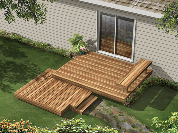 Two Level Wood Deck With Built-In Bench On Top Level
