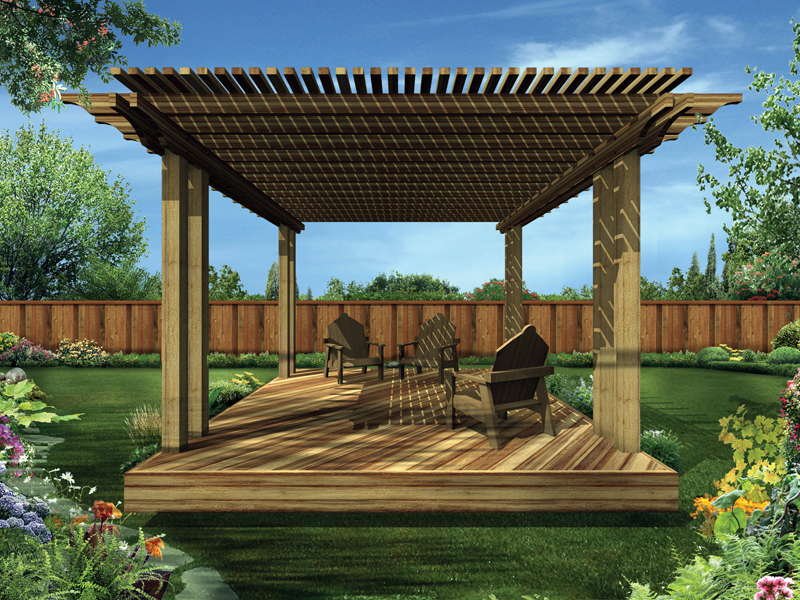 Shaded deck is a freestanding structure that has slated roof above for partial sunlight