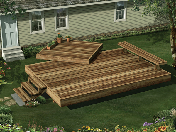 Two-Level Garden Deck With Space For Planters And Built-In Bench Seat