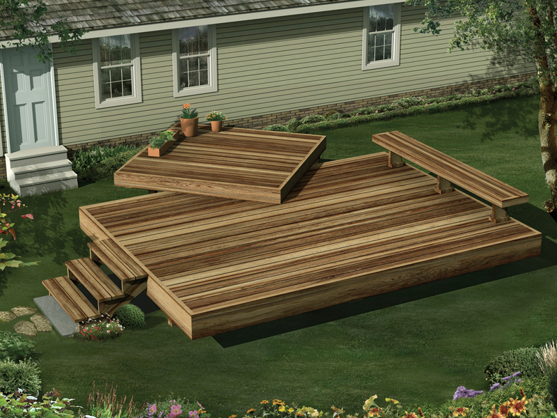 This two-level garden deck includes a built-in bench on one side
