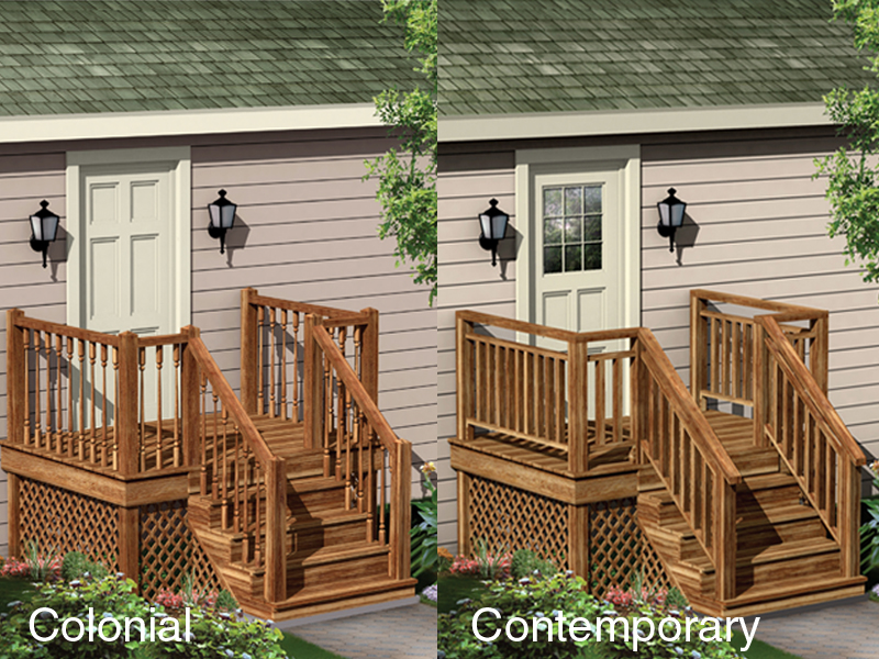 Raised entry porchis all wood and has lattice design below