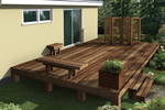 Deck enhancements include a planter box, bench, decorative screen and end table