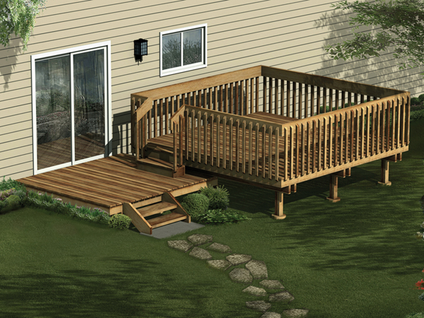 Split-Level Deck Made of Wood With One Portion Enclosed For Privacy