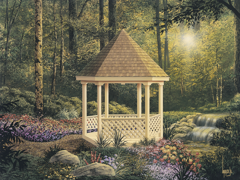 Country style six-sided gazebo is a great backyard addition with lots of charm