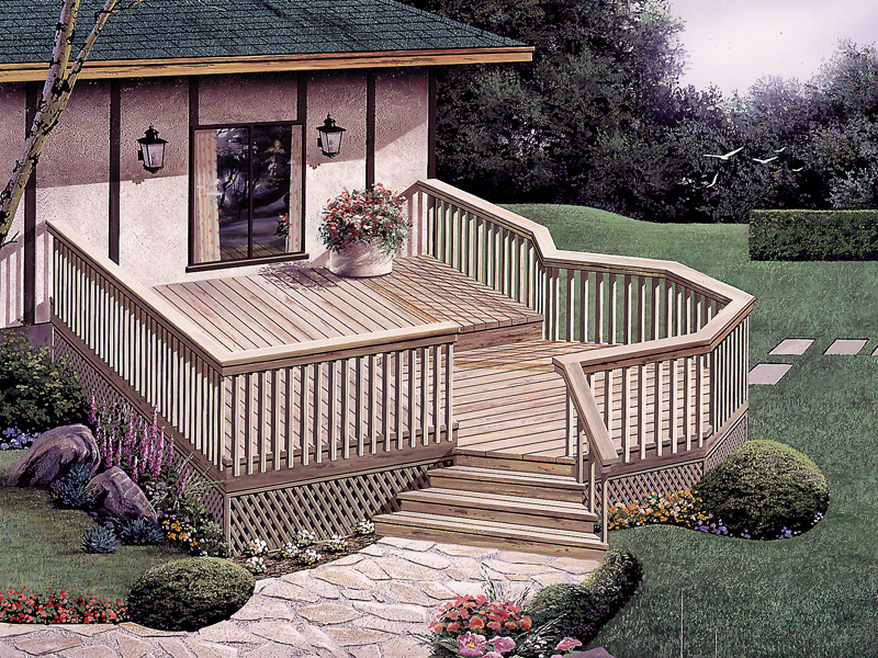 Wooden deck has a sunken area perfect for dining or relaxing