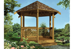 Traditional six-sided gazebo is the perfect style to match any house plan