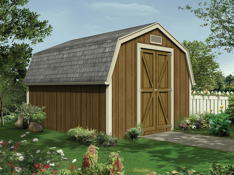 Barn style storage shed with double door on the front