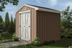 Gable storage shed is not too large for a backyard