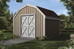 Barn style storage shed with double door
