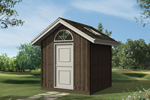 Gable storage shed has skylight in roof and half-round window above door