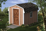 Mini barn storage shed has tall front door and a side window for added light