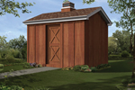 Gable storage shed has a cupola on the roof adding charm and great country style