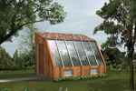 Sun-filled greenhouse has a sloped wall of atrium window perfect for growing vegetables and flowers