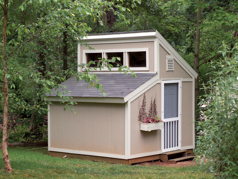 Garden Sheds With Clerestory Window On Top Has A Conveneint Side Door And  Window With Planter