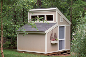 Video Thumbnail of a Garden Shed with Clerestory Window on Top has a Convenient Side Door and Window with Planter Box