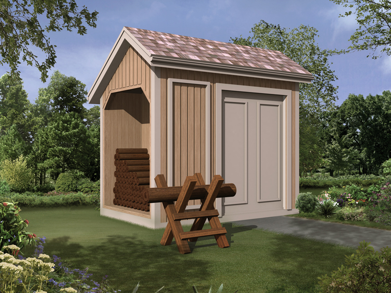 Storage shed with log bin is perfect for keeping a backayrd wood pile out of sight