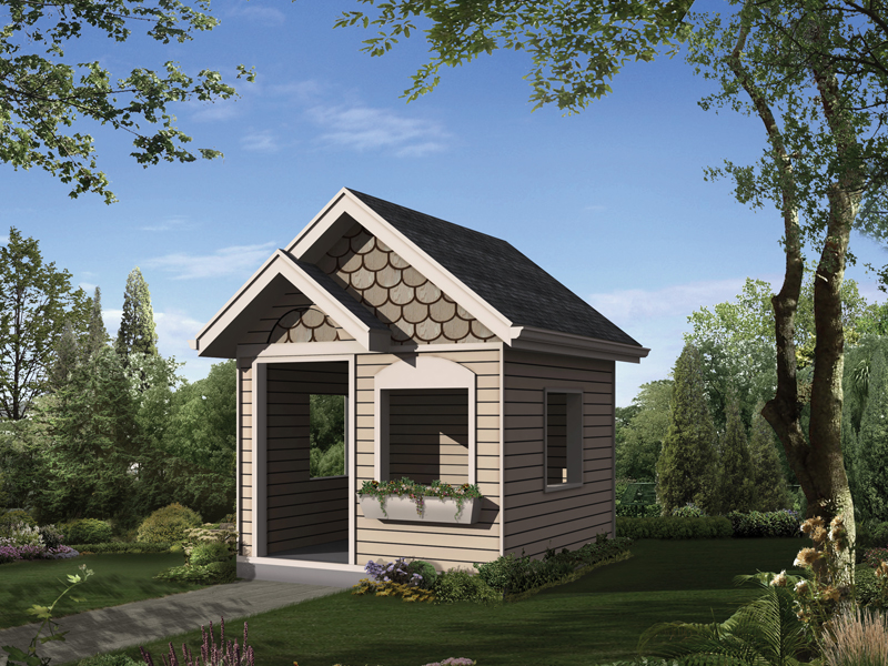 This children's playhouse has multiple windows and a planter box on the front for added charm