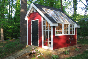 Video Thumbnail of Stylish Garden Shed has a Rustic Exterior with Sleek Atrium Windows and a French Door Entry