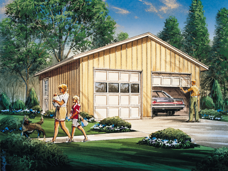 Simple two-car garage design has a conveneint side door